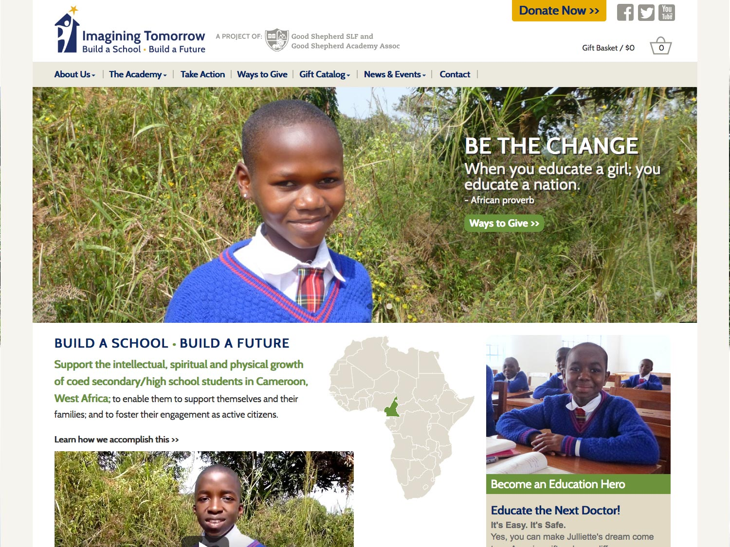 Homepage for building a future for Cameroonian students