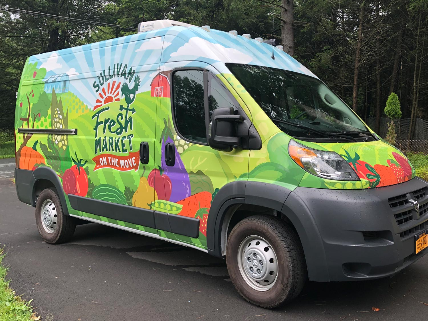 Mobile market in an insulated van