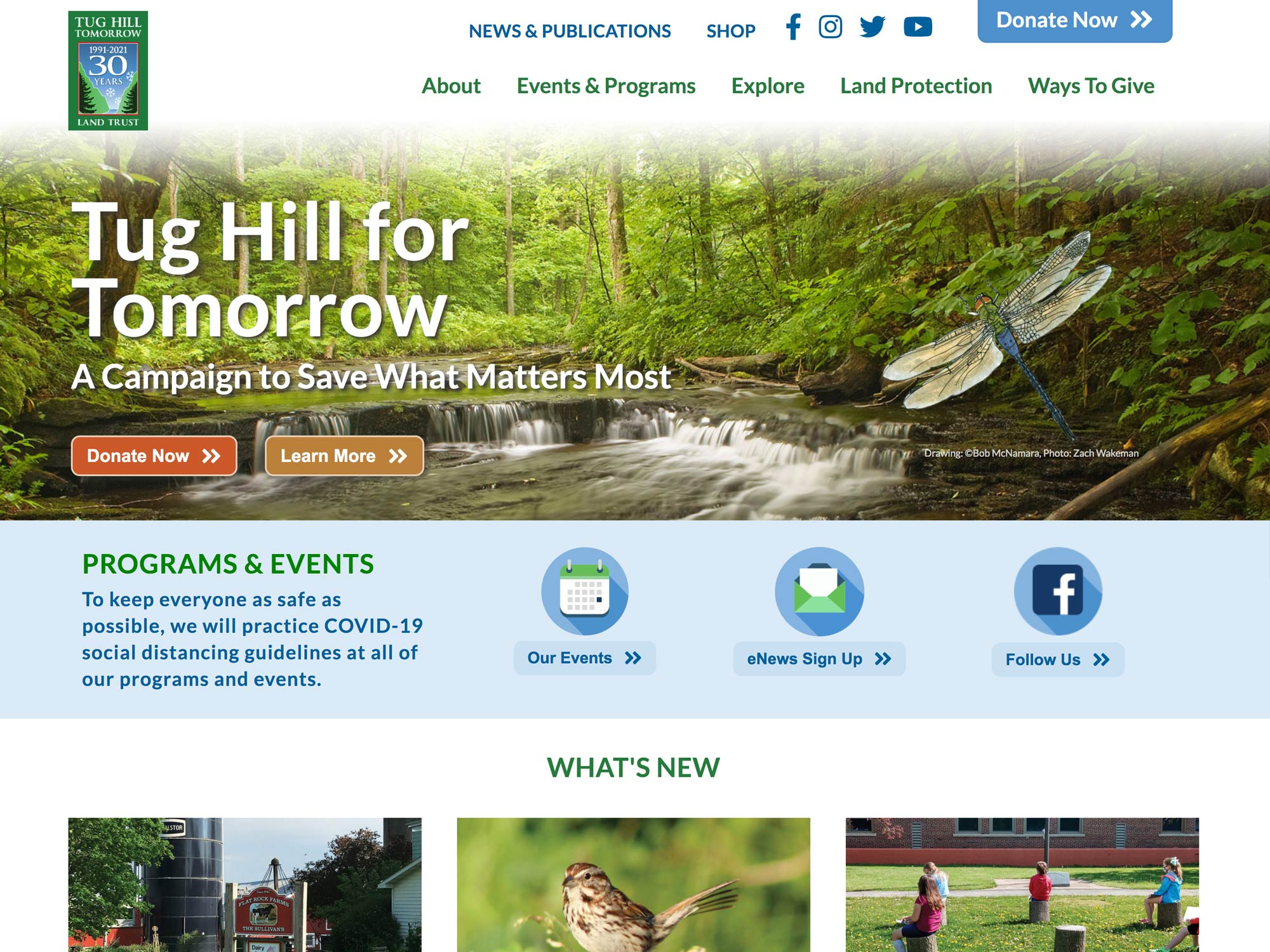 website homepage highlight three year capital campaign